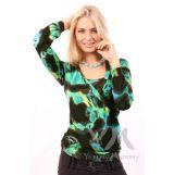 Блуза с защипами коричнево-зеленая