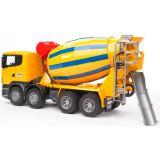 Бетономешалка Scania (цвет жёлто синий) (подходит модуль со звуком и светом