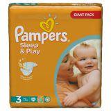 Подгузники Pampers Sleep & Play 4-9 кг (3 размер, midi), 100 шт. (джайант упаковка)