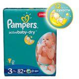 Подгузники Pampers Active Baby-Dry Размер 3 (Миди), 4-9кг, 82 шт.