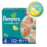 Подгузники Pampers Active Baby-Dry Размер 4 (Макси), 7-14кг, 132 шт