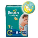Подгузники Pampers Active Baby-Dry Размер 4 + (Макси Плюс), 9-16кг, 18 шт.