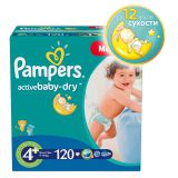 Подгузники Pampers Active Baby-Dry Размер 4 + (Макси Плюс), 9-16кг, 120 шт.