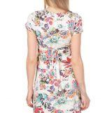 Платье с пояском экрю/коралл/цветы