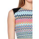 Платье с кожаными вставками на плечах бирюзовый/коралловый