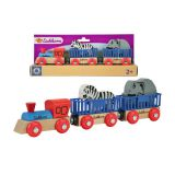 Поезд с 2 вагонами и животными