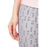 Пижама брюки серые/принт котики + св.розовая футболка с принтом