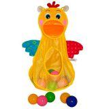 Голодный пеликан с мячиками