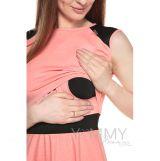 Платье с кожаными вставками на плечах персик