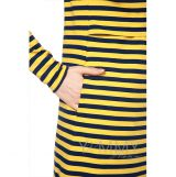 Платье с длинным рукавом с карманами желтая/синяя полоска