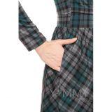 Платье длинное с карманами, вырез-лодочка темно-зеленый/серый/клетка