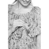Платье-срафан с оборкой по плечам голубой/коралл/цветы