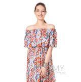 Платье-срафан с оборкой по плечам оранжевый/серый/голубой