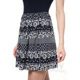 Платье темно-синее с юбкой на сборке синий/белые цветы