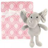 Плед с игрушкой Слон, 1 шт., корал-флис