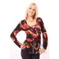 Блуза с защипами коричнево-оранжевая