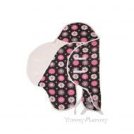 Кармашек темно-серый/розовые цветы