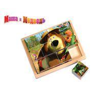 Кубики GT5076 Маша и Медведь 12 штук 15,7*12,4*4,5см дерево Маша и Медведь
