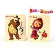 Логика GT6016 Шнуровка Маша и медведь, 14,5*19см, дерево Маша и Медведь