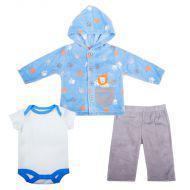 Комплект Жакет с капюшоном, боди к/р, штанишки, 3 пр., для мальчика, (флис)