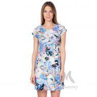Платье с пояском экрю/синий/цветы