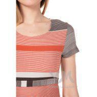 Платье с пояском теракотовая/коричневая/бежевая полоска