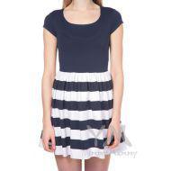 Платье с полосатой юбкой на сборке темно синий/белая полоска