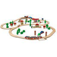 Набор деревянной ж/дс мостом и 2 поездами, 81 дет.