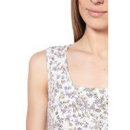 Ночная рубашка с V-образным вырезом экрю/ цветочки