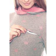 Толстовка с капюшоном на меху серый меланж с розовыми коронами