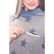 Толстовка с капюшоном на меху серый меланж с синими звездами