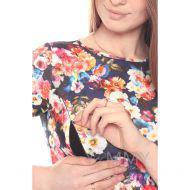 Платье со складками синий/цветы