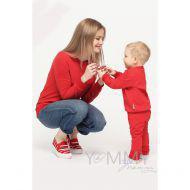 Костюм детский из футера красный: слингоштанишки + толстовка