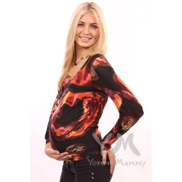 Блуза с защипами коричнево-оранжевая 215.2.4 Y@mmyMammy