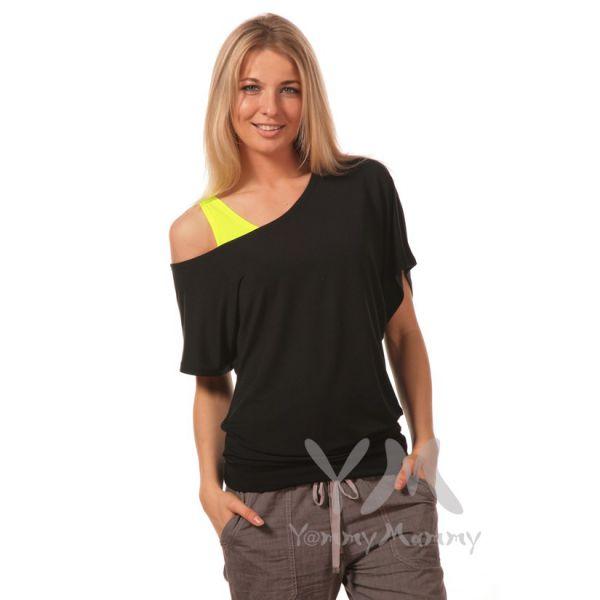 Блуза на одно плечо из модала черная 234.1.3 Y@mmyMammy