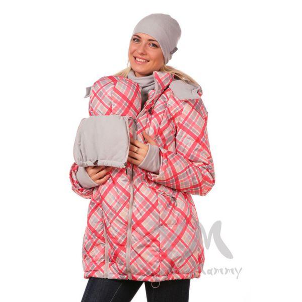 Универсальная куртка 3 в 1  белая/красная клетка ДЕМИСЕЗОННАЯ 801.1.19 Y@mmyMammy