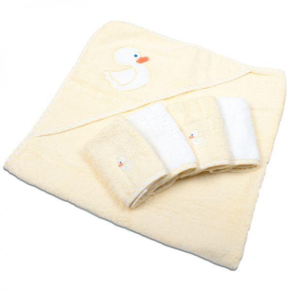 Комплект Полотенце с капюшоном и 4 салфетки 'Уточка', 5 пр., (махра) HTSET 04 Spasilk