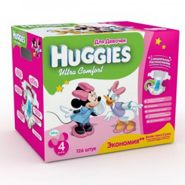 Хаггис подгузники Ультра Комфорт для девочек 4 (8-14 кг) Мега 126 шт. 9402042 Huggies