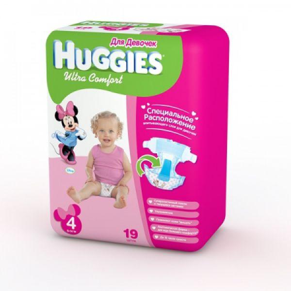 Хаггис подгузники Ультра Комфорт для девочек 4 (8-14кг) 19 шт 9402412 Huggies