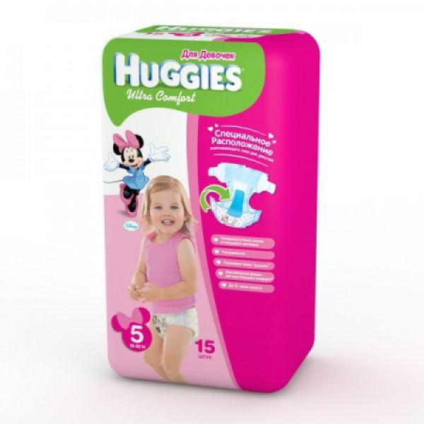 Хаггис подгузники Ультра Комфорт для девочек 5 (12-22кг) 15 шт 9402512 Huggies