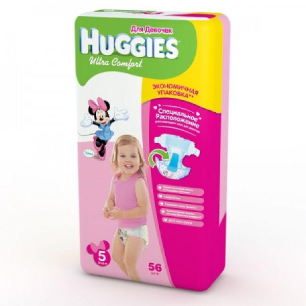 Хаггис подгузники Ультра Комфорт для девочек 5 (12-22кг) 56 шт 9402532 Huggies