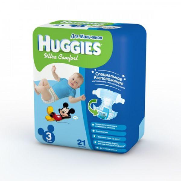 Хаггис подгузники Ультра Комфорт для мальчиков 3 (5-9 кг) 21 шт 9402311 Huggies