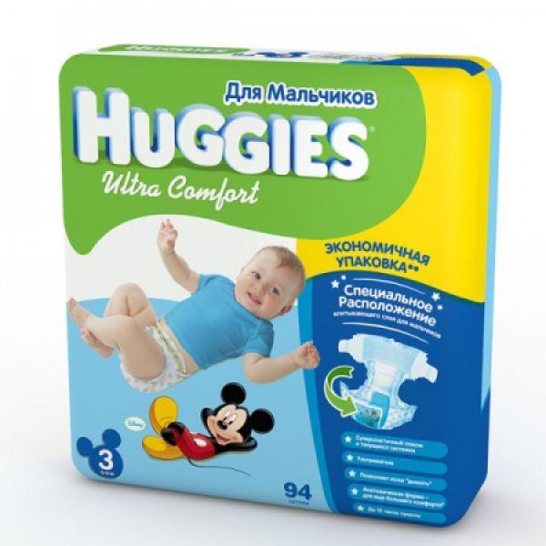 Хаггис подгузники Ультра Комфорт для мальчиков 3 (5-9кг) 94 шт 9402341 Huggies