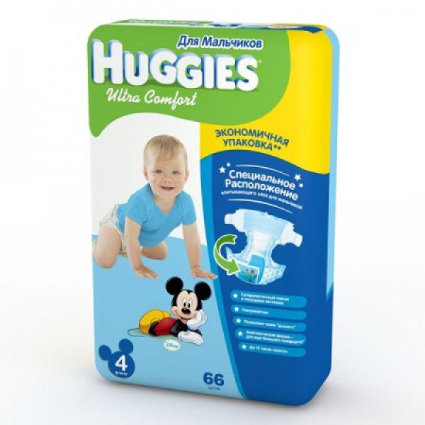 Хаггис подгузники Ультра Комфорт для мальчиков 4 (8-14кг) 66 шт 9402431 Huggies