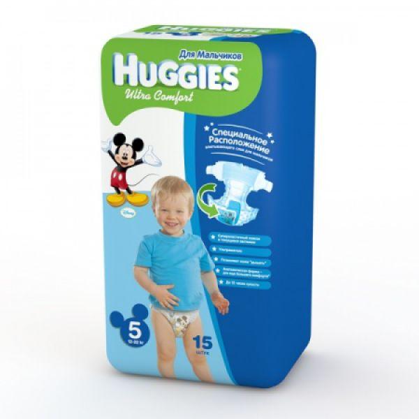 Хаггис подгузники Ультра Комфорт для мальчиков 5 (12-22кг) 15 шт 9402511 Huggies
