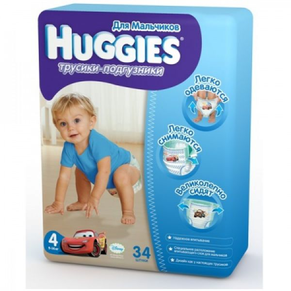 Хаггис Трусики-подгузники 4 для мальчиков (9-14кг) 34 шт 9401441 Huggies