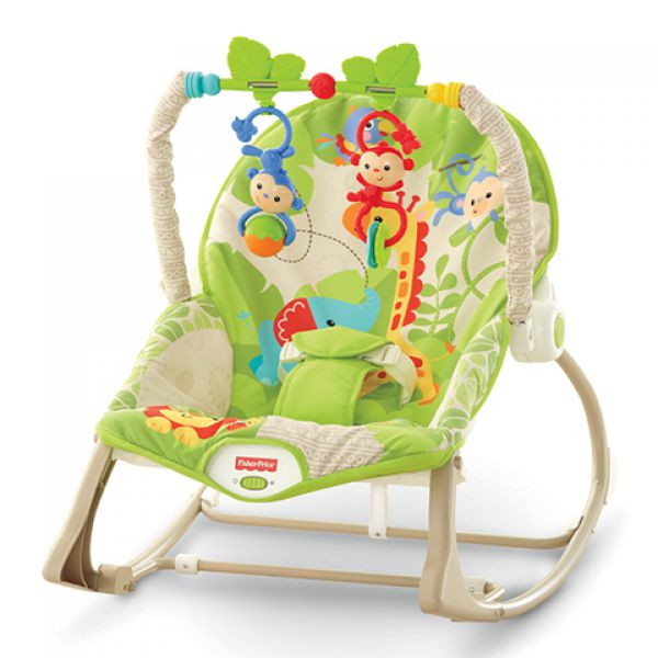 Кресло-качалка CBF52 переносное Веселые обезьянки из тропического леса Fisher-Price Фишер Прайс 1130972 MATTEL