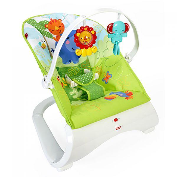 Кресло-качалка CJJ79 переносное Друзья из тропического леса Fisher-Price 1136478 Fisher Price (MATTEL)