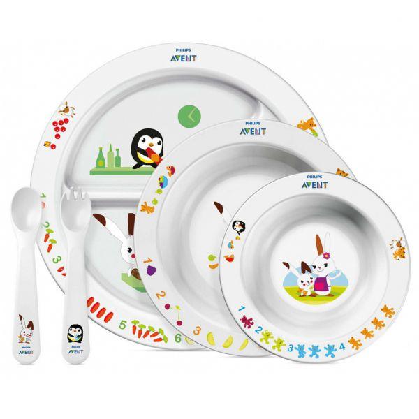 Набор посуды Philips AVENT SCF716/00: три тарелочки, ложка и вилка 65680 AVENT