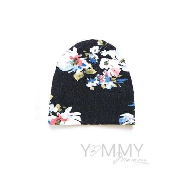 Шапка цвет джинса/белые цветы 510.1.122 Y@mmyMammy